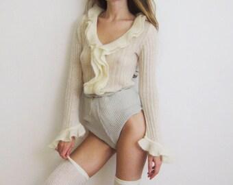 90s Ruffle Collar Sweater XS S M