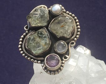 Chrysoberyl , Moonstone , Amethyst , and Freshwater Pearl Handmade Boho 92.5 Silver Ring US Size - 6