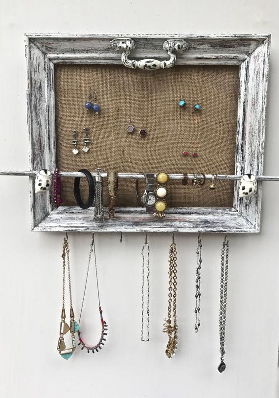 Jewelry organizer holder shabby chic wood repurposed for Repurposed jewelry holder