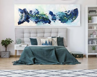 Extra Large 80 inche Navy Blue Original Abstract Painting On Canvas - Blue Canvas Art - Wall Art - Abstract Landscape oversized Abstract Art