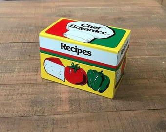 1982 Chef Boyardee Recipe Box, Vintage Recipe Box, Metal Recipe Box