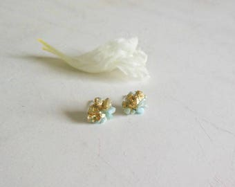 Raw stone earrings, Gold and blue ,raw larimar gold leaf  studs earrings, tiny gold studs larimar earrings