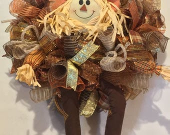 Fall wreath, scarecrow wreath, scarecrow deco mesh wreath, fall scarecrow deco mesh wreath, thanksgiving wreath, scarecrow harvest autumn