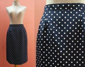 Polka Dot Skirt Vintage Skirt Womens Skirts White Navy Blue Skirt Straight Skirt High Waist Skirt Retro Skirt Knee Length Skirt Small