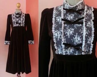 Velvet Dress 70s Vintage Dress Brown Dress Hippie Dress 1970s Dress Women Dress Boho Dress Prairie Dress High Collar Midi Dress Long Sleeve