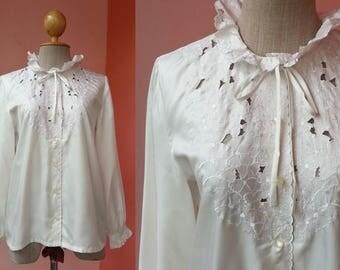 White Shirt Secretary Blouse 80s Shirt Embroidered Blouse Vintage Shirt 1980s Clothing Women High Collar Polyester Shirt Long Sleeve Blouse