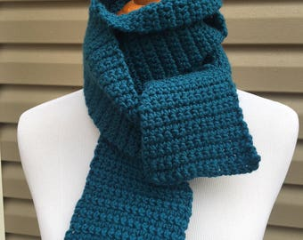 Blue Scarf, Deep Blue Scarf, Crochet Scarf, Winter Scarf, Cold Weather Accessory