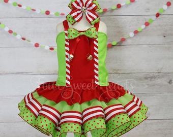 Elf Tutu Dress, Girl Elf Costume, Girls Holiday Dress, Christmas Pageant Dress, Christmas Dress, Elf Dress, Christmas Tutu, Girl Elf Outfit