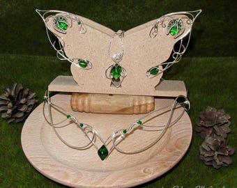 Elf ears, pendant and circlet, Green and Silver jewelry set for elf costume, fantasy lover gift, fantasy jewelry with Swarovski crystals
