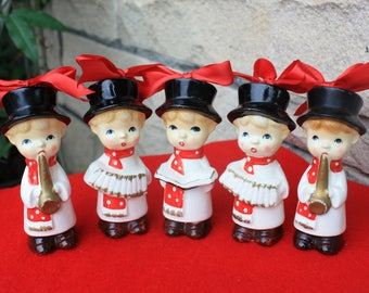 Five Vintage Musical Choir Boy Caroler Ceramic Ornaments Mid Century Japan Figurines Collectibles Decorations