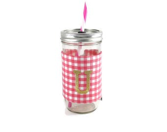 Pink and White Gingham Mason Jar Tumbler, Monogrammed Tumbler, Gingham Monogram Tumbler, Mason Jar Gingham Tumbler, Unique Gift,Personalized