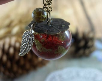 Gift For Mom Glass globe pendant Terrarium necklace Nature necklace Birthday gift Unique necklace Vial necklace Resin jewelry Mint necklace