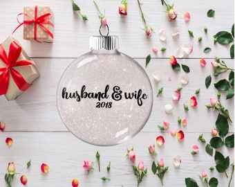 Gift for Bride and Groom, Wedding Ornament, Husband and Wife Gift, Present for Wedding Anniversary Bachelorette Party Gift