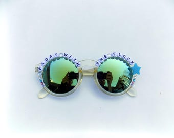 """Phish Ocelet """"Float With The Flock"""" decorated Groovy Glasses, hand decorated novelty sunglasses with Phish lyrics"""