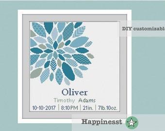 cross stitch baby birth sampler, birth announcement, modern flower, dahlia,  baby boy, DIY customizable pattern** instant download**