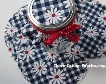 "5.5"" Cotton Circles ""Gingham Girls"" Jam Jar Honey Jar Covers Gift Jar Toppers  Daisy 1-1/4"" on Navy Medium 1/4"" square checks 100% Cotton"