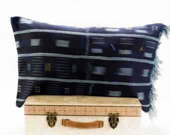 16x24 Vintage Authentic Indigo African Baule Mud Cloth Pilow Cover, Blue Baule African Mudcloth  Mudcloth Pillows, Chic Pillow Cover,Blue Mu