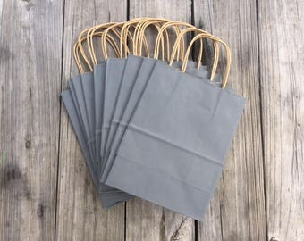 100 Pack Gray Gift Bags/Wedding Welcome Bags/Charcoal Gray Gift Bags/Grey Gift Bags