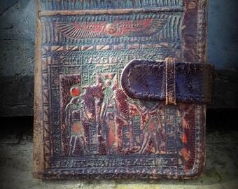 Vintage 50's Egyptian scene Leather Wallet Billfold