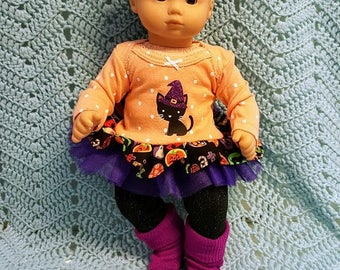 """15 inch Baby Doll Clothes Not So Scary Kitty"""" doll outfit Will fit Bitty Baby® Bitty Twins® dress pants socks headband S4"""