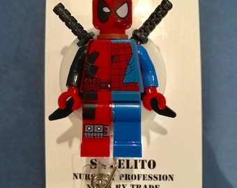 Limited Edition Mash Up ~ Deadpool™ Spiderman Marvel© Brick Minifigure ~ Badge Holder ~ Slide Belt ~ Clip Alligator Clip ~ Gift Nurse Doctor