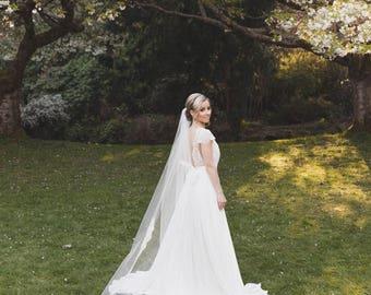 Flora Chapel Alencon Lace Veil, Lace Veil, Alencon Lace Veil, Ivory Veil, Single Layer Veil, Cathedral Lace Veil, Bridal Veil
