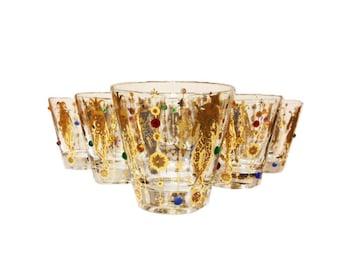 Midcentury, 22k Jeweled Culver Harlequin Jester Glasses, S/6