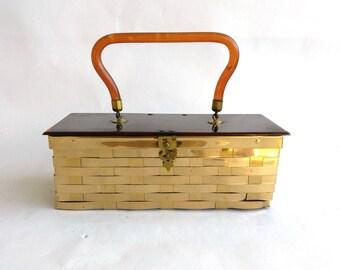 1950's Dorset Rex Fifth Avenue Lucite Gold Brass Weave Basket Box Purse, Lucite Top Handle Brass Box Purse