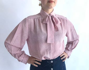 Vintage 1980s Pink Swirling Dot Blouse with Neck Tie ~ Sz Medium