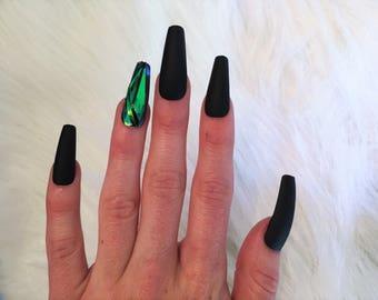 Matte Black Emerald Nails