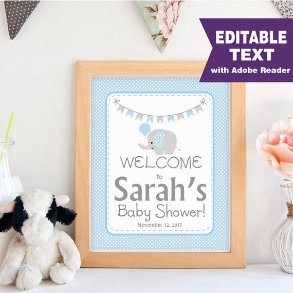 Elephant WELCOME Party sign, Editable Printable Boy Baby Shower, Blue and Grey Chevron Elephant Baby Shower, Printable Sign -D877 BBEB2