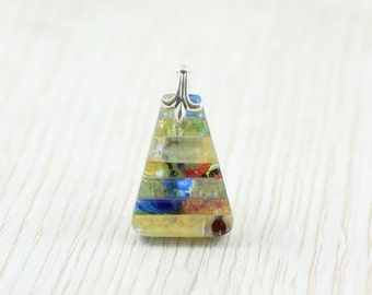 Blue, Lavender and Red Fused Glass Pendant - Glass Jewellery - Necklace - Murrini - Dichroic Glass Jewellery - Fused Glass Jewelry  JBT456