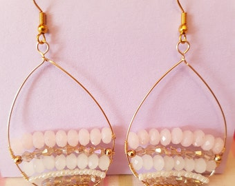 Pink & gold beaded teardrop earrings