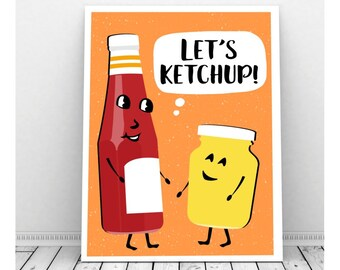 BBQ Printable, Party Decorations, Funny Pun Art, Barbecue Birthday, Picnic Decor, Birthday Sign, Condiments, Let's Ketchup, Mustard, Cookout