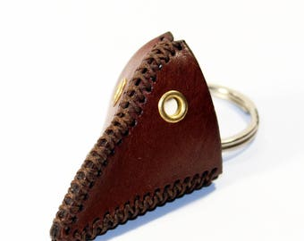 Plague Doctor Mask KeyChain! Brown Plague Doctor Mask! Leather Key Chain! Great gift! Unique Handmade item!