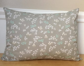 """12"""" x 16"""" Pillow Cover in White and Mint Aqua Flowers on Gray Littlest Bunnies Fabric Baby Girl Nursery Lumbar Accent Pillow Cover"""