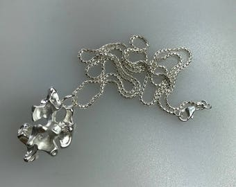Silver Freeform Pendant Cast in Chickpeas with a Sterling Silver Curb Chain
