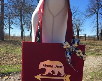Mama Bear Red & Gold Tote / Diaperbag