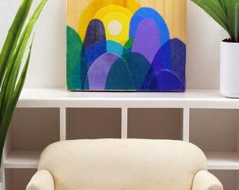 Original Miniature Artwork for the Modern Home - Purple Mountain Majesty