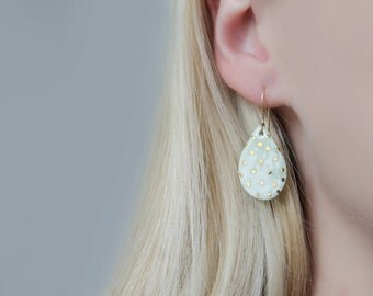 Green Porcelain Earrings With Gold Dots // 14k Gold-Filled Hooks // 24k Gold Luster // Gift For Her // Minimalist Jewelry