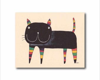 black cat card, cat lover card, Cats greeting card, Birthday Anniversary Kids Friendship cat card, Cute cat card