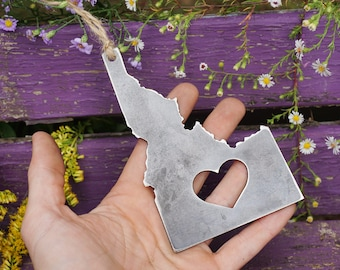 Idaho State Ornament Rustic Raw Steel ID Metal Heart Christmas Tree Decor Host Gift Keepsake Travel Wedding Favor By BE Creations