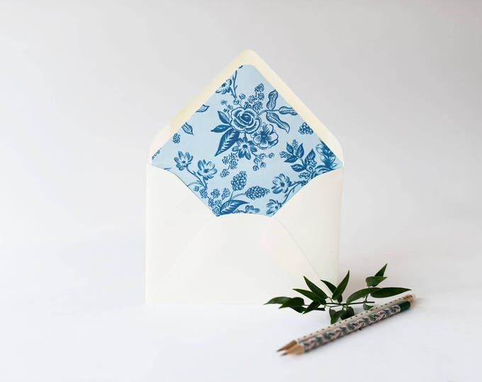 "rifle paper ""toile"" floral lined envelopes (sets of 10) // romantic blue floral rifle paper envelope liners lined envelopes"