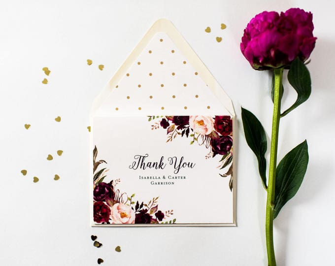 NEW!  isabella burgundy floral personalized thank you cards // wedding thank you cards // burgundy blush floral fall wedding gold foil