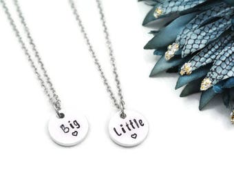 Big Little Hand Stamped Necklace Set | Hand Stamped Jewelry  Big Little Sorority | Big Little Gift | Big Little Necklace | Big Little Reveal