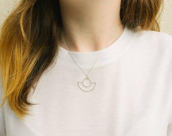 Mini Saturn Necklace • Minimalist Necklace • Silver Pendant Necklace • Modern Necklace • Art Deco Necklace