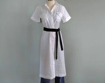 SALE vintage 90's grid pattern midi shirt dress
