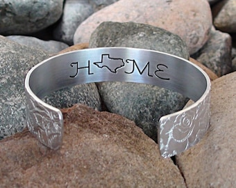 Your Home State Bracelet Choose Your State Custom Cuff Bracelet Any USA Home State Engraved Jewelry Gift Travel Handmade