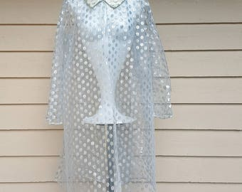 Unusual 1950's Silver Netted Polka Dot Cover Up