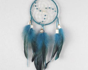 Wall Hanging Dreamcatcher, Teal Dream Catcher, Boho Wall Hanging, Boho Wall Hanging, Boho Dream Catcher